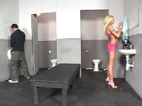 Sabrina Rose uses the men's room to get a hot cock to suck and fuck