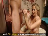 Blonde Julia Ann takes this cock in her mouth before she fucks it