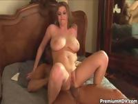 Busty blonde Sara Stone enjoys his morning wood by fucking it