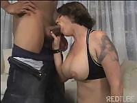Tattooed babe with big tits goes after this hard black cock
