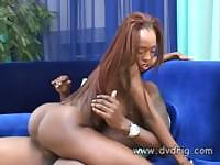 Ebony babe Lena S'mone and her shaved pussy takes on black cock
