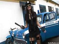Police babe Sandra knows how to use that bat to work her pussy