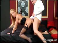 Blonde babe in sexy black stockings gets part2