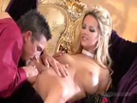 Busty blonde babe Ashlynn Brooke eats a big cock and gets drilled