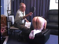 Grandpa punishes a girl