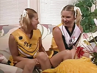 Two Young Cheerleaders Take Cock And Facial Spunk !