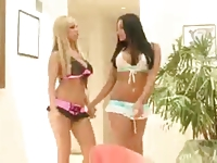 Audrey Bitoni and Nikki Benz swap and swallow cum