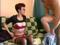 French mature brunette with young neighbour