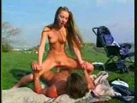 Pretty babysitter fucked by a mature stranger outdoors...