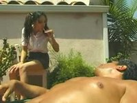 Babysitter alone with her mature boss