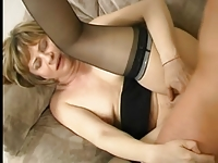 Nice Nipples on Little Titties Mature in Stockings Again