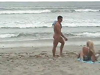 CFNM - Erected cock on the beach