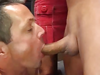 Hubby sucks cock for wife