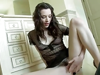 Pale brunette gets roughly fucked