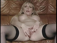 British slut Sarah Jane plays with herself in various scenes