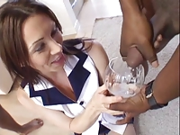 Nasty girl drinks a lot of cum from a cocktail class