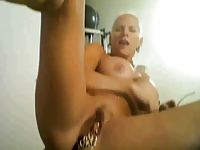horny granny on cam, with many rings on her clit...