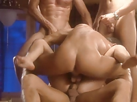 sexy blonde girl enjoys four guys and double penetration