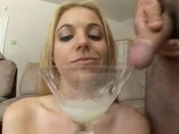 Blonde drinks cocktail of cum
