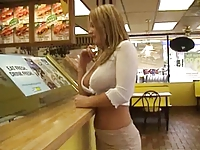 Flashing in a snack and at gas station