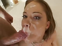 Amee Donovan swallow lots of cum in gangbang scene