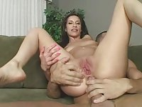 monica breeze takes a load in her gaping asshole