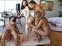 Tranny orgy with wild anal sex