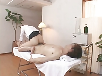 Japanese massage 09 - female masseuse with a guy (caught)