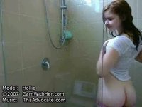 Hollie takes a shower