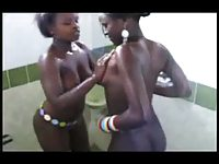 Sexy Naked African Girls Play Together in Shower - Ameman
