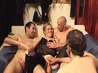 Frivolous chick in sexy underwear wants to be fucked by two males