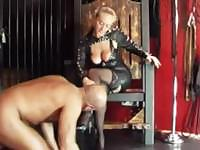 Lesbian girl in leather suit will show you what real fucking is about