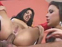 Two teen brunettes take on some hard cock up the ass and mouth