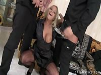 Double Penetrated Blonde Slut In Stockings