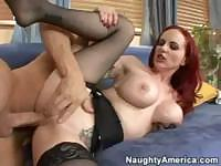 Skillful red-haired hooker loves placing soft cocks in her mouth