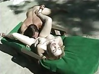 Nice backyard sexual experience with amazing lonely blonde