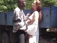 Brunette Jolie has an outdoor fuck session with a black dick