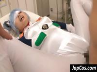 Blue-haired Asian chick wearing a costume gets fucked hard by a guy on a hospital bed