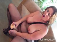 Mature sucking and fucking dildo