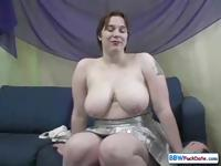 Busty, big BBW brunette eats his cock and gets ass pounded