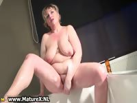 Horny busty mature mom is wanking part4