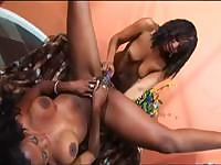 Ebony lesbians having fun on the stairs