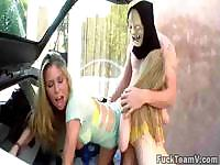 Slutty females getting fucked by a masked guy next to his ride