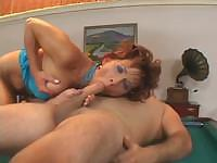 Slim cougar Cindy Compa fucking on a pool table and getting facial
