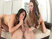 Rachel Roxxx and Gianna Lynn share a cock and each other in threesome