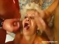 Horny blonde granny needs lots of cocks and gets two to fuck