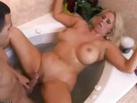 Blonde Milf With Big Boobs Gets Fucked On The Bahtroom
