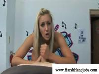 Naughty blonde giving a blowjob