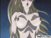 Big titted hentai blondie gets fucked doggy by shemale