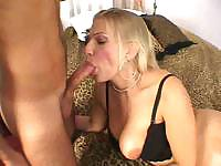 This busty blonde is horny and takes that cock in her mouth and ass